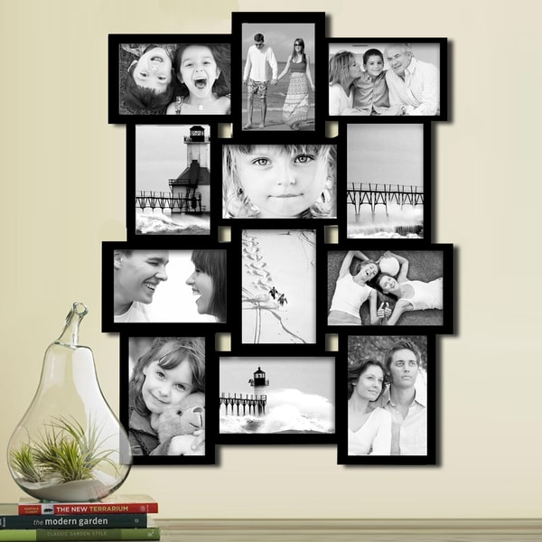 Shop Black Wood 12-opening Collage Photo Frame - Free Shipping Today ...