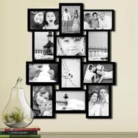 Black Wood 12-opening Collage Photo Frame