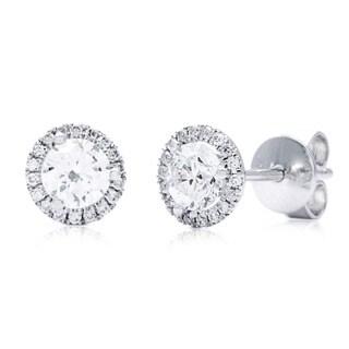 Azaro 14k White Gold 3/4ct TDW Round Diamond Halo Stud Earrings