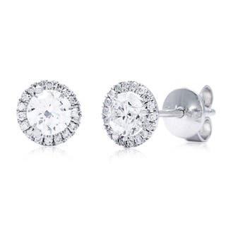 Azaro 14k White Gold 3/4ct TDW Round Diamond Halo Stud Earrings https://ak1.ostkcdn.com/images/products/8915488/P16132960.jpg?impolicy=medium