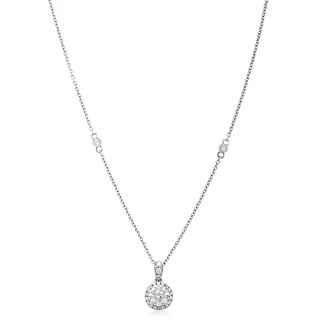 Azaro 14k White Gold 3/4ct TDW Round Diamond Halo Pendant Necklace (G-H, SI2-I1)