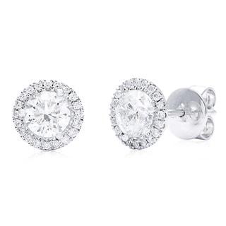 Azaro 14k White Gold 1 3/4ct TDW Round Diamond Halo Earrings