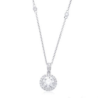 Azaro 14k White Gold 1ct TDW Round Diamond Halo Pendant Necklace