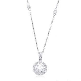Azaro 14k White Gold 1ct TDW Round Diamond Halo Pendant Necklace