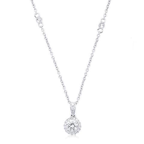 Azaro 14k White Gold 3/8ct TDW Round Diamond Halo Necklace