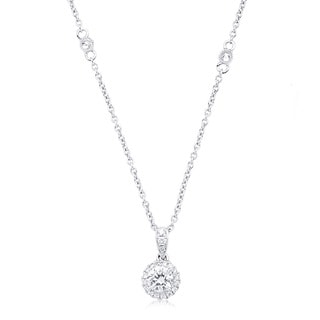 Azaro 14k White Gold 3/8ct TDW Round Diamond Halo Necklace (G-H, SI2-I1)