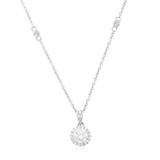 Azaro 14k White Gold 1/2ct TDW Round Diamond Halo Necklace (G-H, SI2-I1)