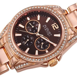 August Steiner Women's Crystal Quartz Multifunction Rose-Tone Bracelet Watch