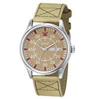 August Steiner Men's Quartz Day/Date Leather Strap Watch