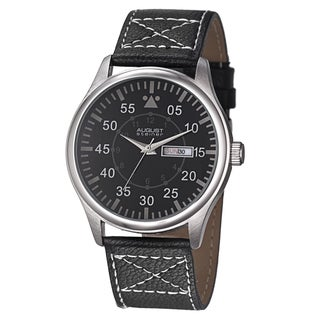 August Steiner Men's Quartz Day/Date Leather Silver-Tone Strap Watch