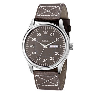 August Steiner Men's Quartz Day/Date Leather Brown Strap Watch
