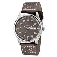 August Steiner Men's Quartz Day/Date Leather Brown Strap Watch