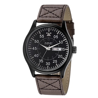 August Steiner Men's Quartz Day/Date Leather Black Strap Watch