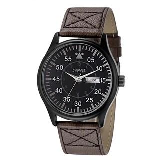 August Steiner Men's Quartz Day/Date Leather Black Strap Watch