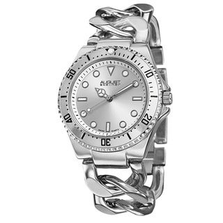 August Steiner Women's Swiss Quartz Chain Link Silver-Tone Bracelet Watch