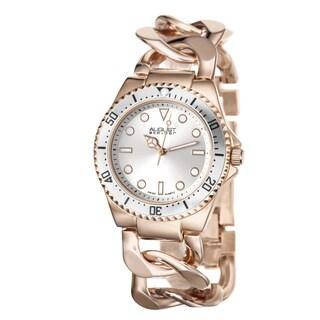 August Steiner Women's Swiss Quartz Chain Link Rose-Tone Bracelet Watch