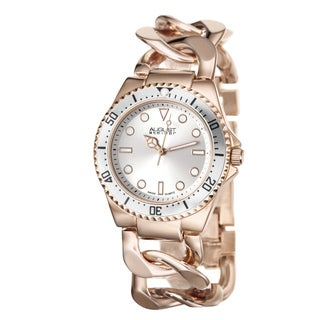 August Steiner Women's Swiss Quartz Chain Link Rose-Tone Bracelet Watch with FREE GIFT