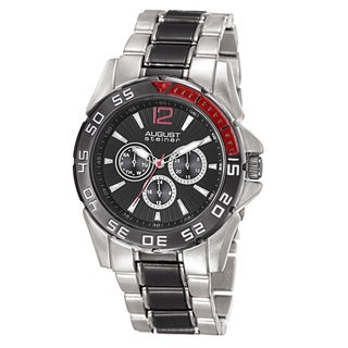 August Steiner Men's Quartz Multifunction Silver-Tone Bracelet Watch