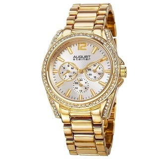 August Steiner Women's Crystal Quartz Multifunction Gold-Tone Bracelet Watch