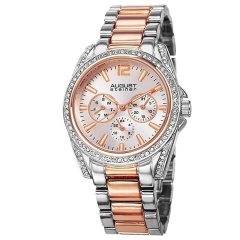 August Steiner Women's Crystal Quartz Multifunction Two-Tone Bracelet Watch
