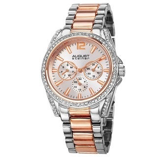 August Steiner Women's Crystal Quartz Multifunction Two-Tone Bracelet Watch