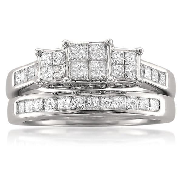 Montebello 14k White Gold 1 1/10ct TDW Quad Princess Diamond Bridal Set