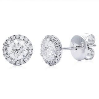Azaro 14k White Gold 1 1/6ct TDW Round Diamond Halo Stud Earrings