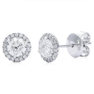Azaro 14k White Gold 1 1/6ct TDW Round Diamond Halo Stud Earrings|https://ak1.ostkcdn.com/images/products/8915532/P16133003.jpg?impolicy=medium