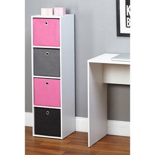 Simple Living 'Jolie' 4-slot Fabric Bin Bookcase (Option: Bookcase, pink/black/grey bins)