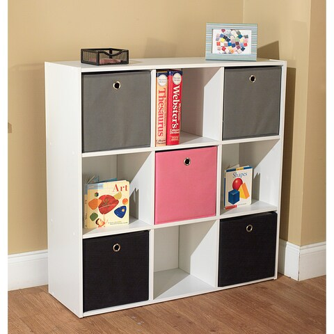 "Simple Living 'Jolie' White Bookcase with Five Fabric Bins - 29.5""h x 35.5""w x 10.75""d"