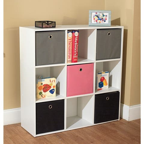 """Simple Living 'Jolie' White Bookcase with Five Fabric Bins - 29.5""""h x 35.5""""w x 10.75""""d"""