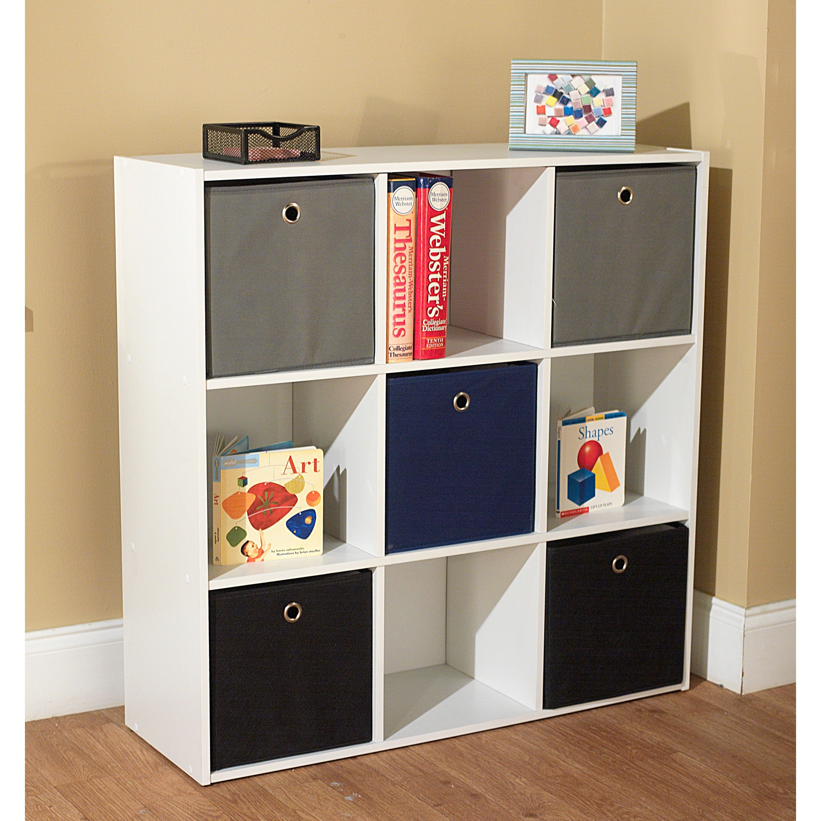 Simple Living U0027Jolieu0027 White Bookcase With Five Fabric Bins (2 Options ...