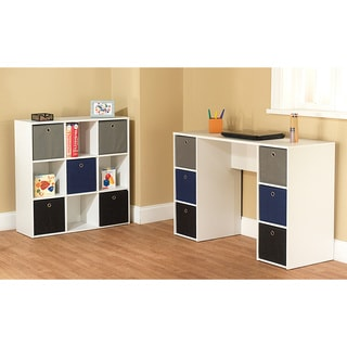 Simple Living 'Jolie' White and Blue Writing Desk and 5-bin Bookcase Set