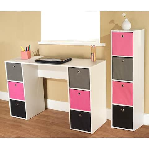Simple Living Jolie Pink Theme 6-bin Writing Desk with 4-bin Bookcase Set