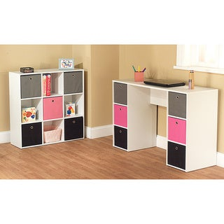 Simple Living Jolie Pink Theme 6-bin Writing Desk with 5-bin Bookcase Set