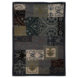 Linon Trio Collection Blue Patchwork and Scrollwork Rug (2' x 3')