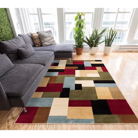 Well Woven Patchwork Red Multi Geometric Modern Color Blocks Area Rug - 6'7 x 9'6