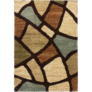 Well Woven Wavy Squares Super Plush Modern Abstract Geometric Green, Blue, Ivory, and Beige Shag Area Rug (5' x 7')