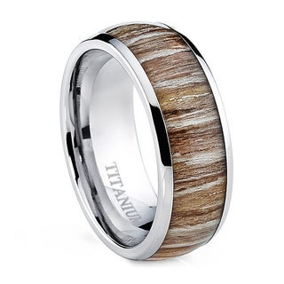 Oliveti Men's Dome Zebra Rosewood Inlay Comfort Fit Titanium Ring