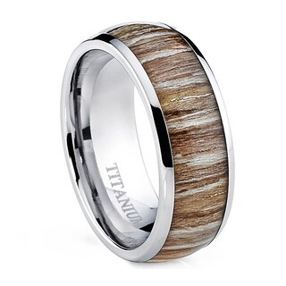 Oliveti Men's Dome Real Light Zebra Rosewood Inlay Comfort Fit Titanium Ring (Option: 15)