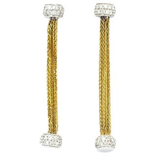Sonia Bitton 18k Two-tone Gold 7/8ct TDW Diamond Designer Chain Drop Earrings