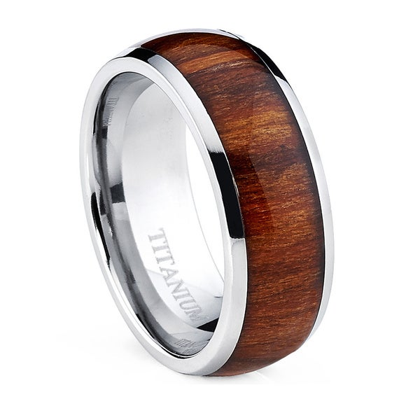 Oliveti Men's Dome Titanium Ring with Real Santos Rosewood Inlay  Comfort Fit