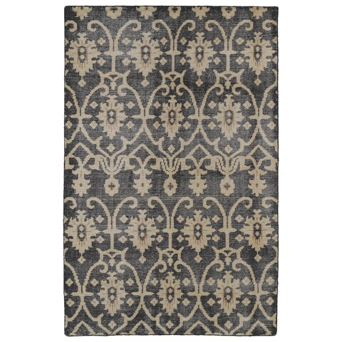 """Hand-Knotted Vintage Replica Charcoal Wool Rug - 5'6"""" x 8'6"""""""