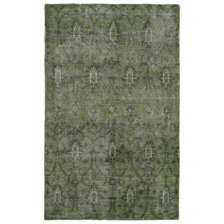 Hand-Knotted Vintage Replica Green Wool Rug - 8' x 10'