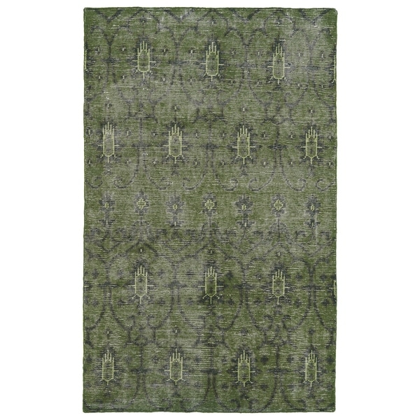 Hand-Knotted Vintage Replica Green Wool Rug (8' x 10')