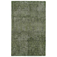 Hand-Knotted Vintage Replica Green Wool Rug - 9' x 12'