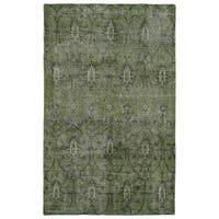 Hand-Knotted Vintage Replica Green Wool Rug (9' x 12') - 9' x 12'