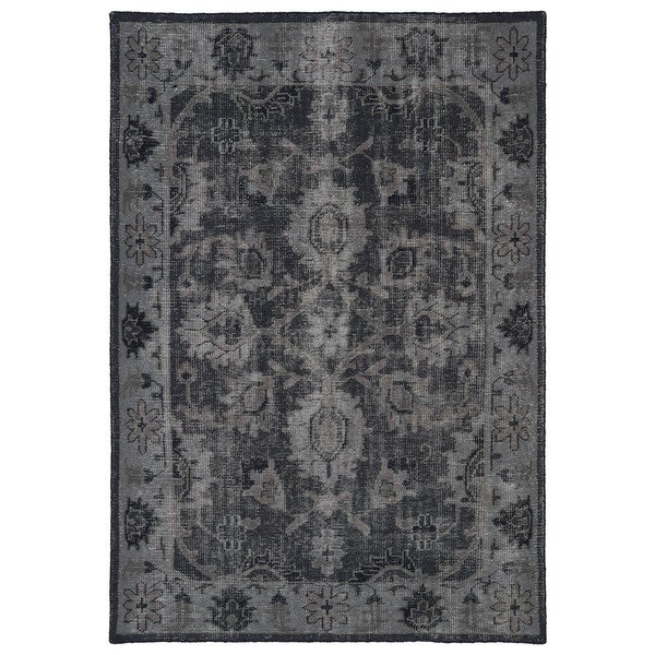 Hand-Knotted Vintage Replica Black Wool Rug (4'0 x 6'0)