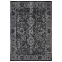 Hand-Knotted Vintage Replica Black Wool Rug (4' x 6')