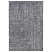 Hand-Knotted Vintage Replica Grey Wool Rug (5'6 x 8'6)